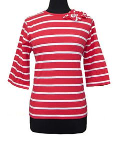 Look at this #zulilyfind! Red & White Stripe Rosette Crewneck Top - Women by Vecceli Italy #zulilyfinds