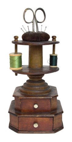 Turned and carved wood sewing kit and spool holder with brown velvet pincushion…