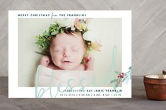"""""""We Are Blessed"""" - Modern, Typography Holiday Birth Announcements in Mint by Qing Ji."""