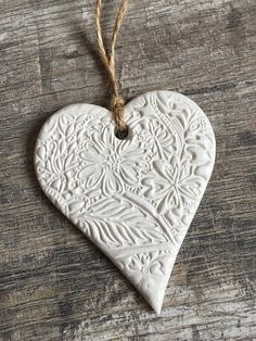 White Floral Clay Hanging Heart Decoration White Hanging Heart heart wall hanging handmade heart This image has get Salt Dough Christmas Ornaments, Clay Christmas Decorations, Christmas Clay, Clay Ornaments, Heart Decorations, Christmas Tree, Valentine Decorations, Handmade Christmas Crafts, Homemade Ornaments