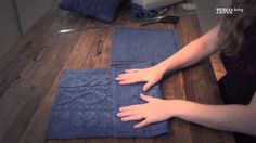 How to make a cushion cover from an old jumper, a video by Hannah Read-Baldrey for Tesco Mag. For more like this check out www.HRB-TV.com