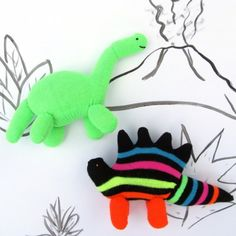 "Got lone or unused gloves? Turn them into fun hand-sewn ""Glovosaurs""! Perfect for the little hands of young dinosaur fanatics!"