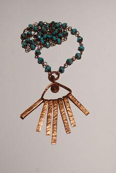 handmade copper jewelry wire wrapped jewelry by BeyhanAkman, $45.00