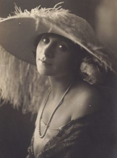 Silent actress Maria Melato in Ostrich Plume Hat, circa 1920s