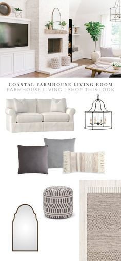 Coastal Farmhouse Before and After Living Room - Grey and White Living Room - Fireplace Makeover - German Smear Stone Fireplace - Farmhouse Fireplace - Alabaster White Living Room - Home Remodel - Home Renovation - Farmhouse Living