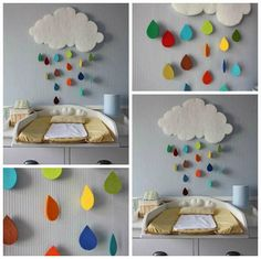 Vous voulez décorez la chambre de votre enfant, on vous propose une belle décoration murale à faire soi-même et de jolis coussins qui vont avec la décoration murale :