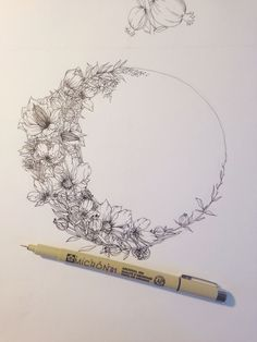 Floral crescent moon illustration by Jenna Rainey of Mon Voir...