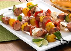 These Johnsonville Chipotle Monterey Jack Cheese Chicken Sausage  Lime Kabobs are the perfect combination of deliciousness! A honey, lime juice, and soy sauce marinade pair perfectly with Johnsonville Chipotle Monterey Jack Cheese Chicken Sausage, bell peppers, onions and cherry tomatoes. Make these for your next BBQ or tailgate!