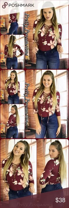 """NWT Burgundy Floral Lace Up Jersey Bodysuit NWT Burgundy Floral Lace Up Jersey Bodysuit   Available in S, M, L Measurements taken from a small  Length: 26"""" Bust: 30"""" **Measurements taken unstretched** Small 2/4; Medium 6/8; Large 10/12  Rayon/Spandex Made in the USA  Features  • all over burgundy w/floral print • sultry lace up front • 3/4 sleeves • super soft material  • easy fit with stretch  Bundle discounts available  No pp or trades  Item # 1/101220380BFBS floral burgundy wine red white…"""