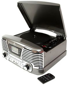 GPO Retro Memphis Record Player Retro 4 in 1 Music System with Radio, CD & Player Black Lp Player, Retro Record Player, Record Players, Memphis, Mixer, Retro Radios, Music System, Cassette, Bluetooth Speakers