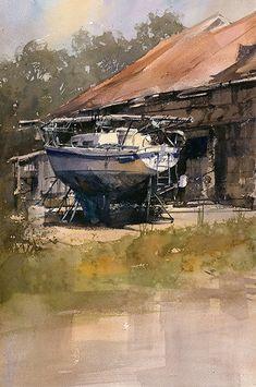 Easton Boats by Vladislav Yeliseyev Watercolor ~ 22 x 15