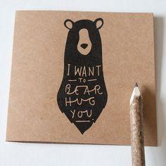 Mother's Day Bear Hug Card 15x15cm Card van OldEnglishCo op Etsy