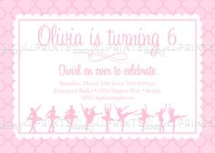 Ballerina Ballet Birthday Party Printable Invite - Dimple Prints Shop