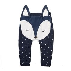 Everweekend Kids Fox Dots Pants Cute Baby Beige and Blue Color Clothes Sweet Children Cotton Autumn Clothing