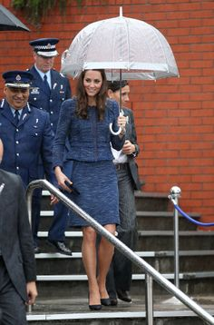 Kate arriving at the Royal New Zealand Police College on April 16, 2014. The Duchess chose her navy 'Sparkle and Tweed' Rebecca Taylor suit from the designer's Pre-Fall 2012/2013 Collection today. The designer is actually from Wellington, New Zealand, although she now works in NYC.