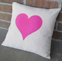Hot pink heart pillow