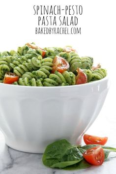 Easy spinach-pesto pasta salad recipe from @Rachel {Baked by Rachel}
