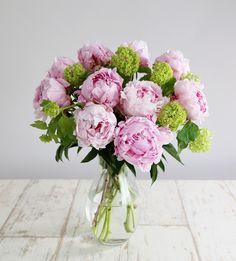 Peony Bouquet: • 10 Pink peonies • 3 Viburnum opulus