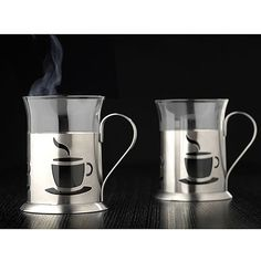 Glass mugs with stainless steel holders