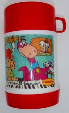 RARE 1989 FLINTSTONES THE DINOS IN THE STUDIO LUNCHBOX THERMOS ONLY DENNYS PROMO  | eBay