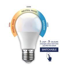 G1035ES - E27 7W Switchable LED Opal Globe Energy Efficient Lighting, Energy Efficiency, Save Energy, Beams, Light Bulb, Led, Lights, Cool Stuff, Opal