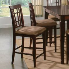 Atlantic Furniture Montego Bay Cappuccino Fabric Pub Chair (Set of 2) - Antique Walnut by Atlantic Furniture. $214.95. Solid eco friendly hardwood construction. Designed for durability. Chair cushions come in two colors. Curved chair back for lumbar support. Stain resistant cushion fabric. The Atlantic Furniture Montego Bay Pub Chairs are constructed from Eco-friendly solid hardwood and have an elegant wood finish. This set of two pub chairs feature a Cappuccin...