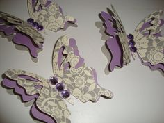 6 gray purple and cream 3d paper butterflies wall by jessicasue34, $16.00