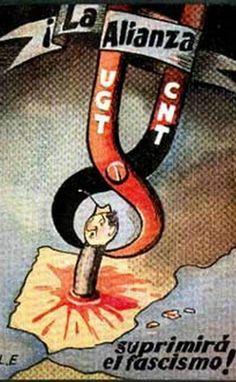 Cartel de propaganda anarquista CNT-FAI | Guerra civil Española 1936-1939… Poster S, Party Poster, Political Communication, Spanish War, Retro, Caricature, World War, Wwii, Spain
