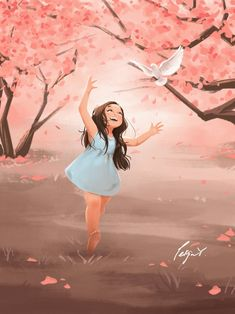 Illustration art and merchandise by PeijinsArt Cute Cartoon Pictures, Cute Cartoon Girl, Cartoon Pics, Cartoon Art, Cherry Blossom Art, Blossom Trees, Cartoon Kunst, Girly Drawings, Cute Girl Wallpaper