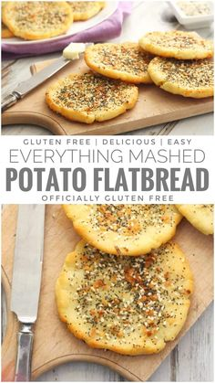 Light and Fluffy Gluten Free Everything Mashed Potato Flatbread Recipe Inspired the Everything Bagel but are much Easier to Make Gf Recipes, Dairy Free Recipes, Vegetarian Recipes, Cooking Recipes, Wheat Free Bread Recipes, Healthy Recipes, Best Potato Recipes, Recipies, Potato Flatbread Recipe