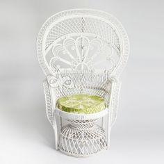 Cane Peacock Chair - White