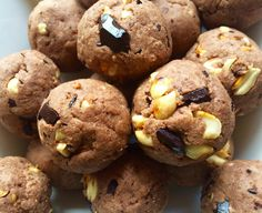 Chunky Peanut Brownie Protein Balls Recipe Desserts with natural peanut butter, almond milk, coconut flour, protein powder, agave nectar, cocoa powder, peanuts, dark chocolate