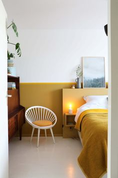 mustard home accents modern bedroom with ochre accents, yellow ochre, mustard yellow Mustard Yellow Bedrooms, Mustard Bedroom, Mustard Yellow Decor, Yellow Home Decor, Yellow Interior, Home Interior, Interior Design Living Room, Mustard Walls, Bedroom Yellow