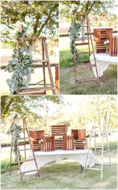 Ladders adorned with leafy greens and florals, wooden crates, shabby chic wedding reception decor // Leah Marie Photography