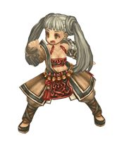 "Female Monk from Tree of Savior. It is a 2D sprite probably animated on After Effects or a similar software with some kind of ""deformation"" tool. Really cool character and amazing outfit!"