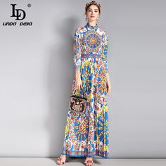 2d35248bf7a6b7 US $54.39 15% OFF|LD LINDA DELLA New Fashion Runway Vintage Maxi Dress  Women's 3/4 Sleeve Classic Retro Art Floral Pattern Printed Long Dress-in  Dresses ...