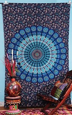 Labnanshi Indian Droplet Style Twin Hanging Tapestry - Floral block print wall hanging, http://www.amazon.com/dp/B00N3CT6SY/ref=cm_sw_r_pi_awdm_SqRXvb1W4WH9W