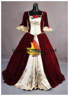 Beauty And Beast Princess Belle Velvet Brocade Cosplay Costume