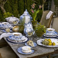 I like the dishes [Juliska Country Estate Delft Blue Dinnerware] Blue And White China, Blue China, New Blue, Delft, Dresser La Table, Driven By Decor, Blue Dinnerware, Tent Sale, Beautiful Table Settings