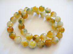 Perles de jade a facettes forme ronde 10 mm*** chapelet de 38 perles *** : Perles pierres Fines, Minérales par mercerie-jewelry