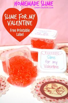 Homemade slime is so popular with the kids and so easy to make. These Slime Valentines are an affordable gift option the kids will love and comes with a free printable label. Plus it is a great non-candy Valentine's Day Gift! Valentine's Day Printables, Printable Labels, Printable Valentine, Valentines Day Party, Valentine Day Crafts, Elmer's Glue Slime Recipe, Kids Party Themes, Party Ideas, Homemade Slime