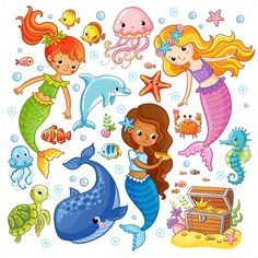 Buy Vector Set with Animals and Mermaids by svaga on GraphicRiver. Vector set with animals and mermaids. Picture in the cartoon style. Cute Mermaid, Mermaid Art, Mermaid Cartoon, Art Drawings For Kids, Animal Drawings, Mermaid Clipart, Mermaid Pictures, Unicorn Art, Fairytale Art