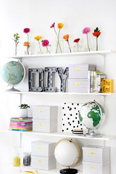 fun bright shelves!+ diy marquee letters
