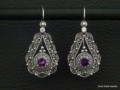 Purple+Amethyst+Cz+Earrings+925+Sterling+by+IreneGreekJewellery