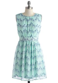 MODCLOTH - Styled and Free Dress - Chiffon, Mid-length, Mint, Blue, Print with Animals, Cutout, A-line, Sleeveless, Scoop, Daytime Party, Pastel, Quirky, Summer