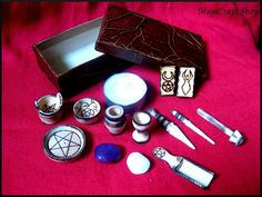 Altar set mini wicca pagan - pocket portable - ritual spell  wiccan witch magic. $38.00, via Etsy.