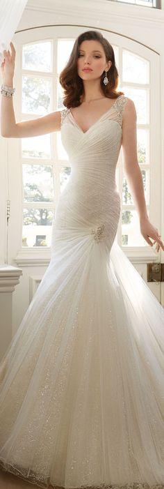 The Sophia Tolli Spring 2016 Wedding Dress Collection - Style No. Y11640 - Candace #tulleweddingdress  Maya Earrings www.davidtuteraembellish.com