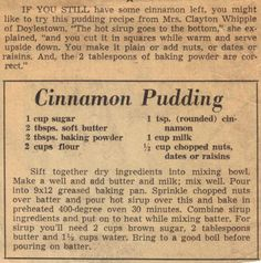 Vintage Recipe Clipping For Cinnamon Pudding