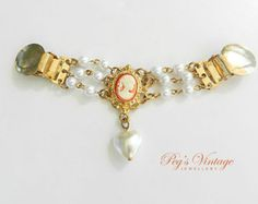 Unique Vintage Faux Pearl And Cameo Sweater Clip//Guard//Gold tone Summer Bridal Jewelry