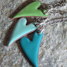 Handmade heart necklaces - love these colours and the shape